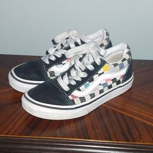 """Checkered """"off the wall"""" vans"""